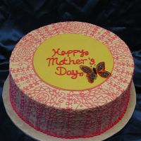 "Mothers Day Henna This is a 12"" round with bc icing and henna piping work. Fondant plaque and gelatin butterfly. Thanks for looking ~Donna"