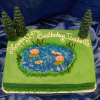 Birthday Lake Cake This is a 1/4 sheet cake with B/c icing and fondant decorations. The trees are plastic...they didn't pay me enough to make them out of...