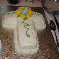 Baptism Cake White cake, torted and filled with vanilla buttercream. Made for my son's baptism.