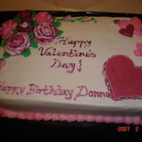 Valentine's Day/birthday Cake Made for co-workers for Valentine's Day, plus a lady's birthday. Strawberry flavored cake with butter/vanilla flavored...