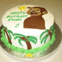 Monkey Cake B-day cake for co-worker's son. He loves Curious George. BC cake with fondant accents.