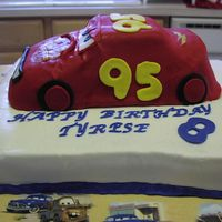 Lightning Mcqueen   Thanks to the CC family for letting me take your ideas for this cake. It came out ok.
