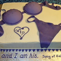 "Purple Bra & Panty Cake  My first attempt at a lingerie cake! Bra and panty made from fondant/gumpaste mix. The youtube video ""Cake Decorating: gumpaste bra..."