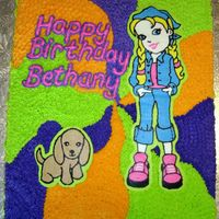 Polly Pocket   Polly Pocket and her dog, Taffy, done in FBCT for my daughter's seventh birthday party. The cake is 11x15.