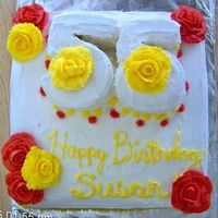 Happy 55Th For Susan Cake for a friend's mother.. whipped icing, buttercream decorations, yellow cake and pineapple filling. I carved the '55' at...