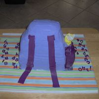 Backpack Backpack, Backside View Dora's BackPack for a friend's little girl on her 3rd birthday. This was a fun (if time consuming) cake to do. I used loaf pans...