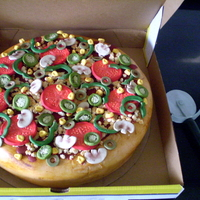 Pizza Party  Pizza cake for my daughter's party at California Pizza Kitchen. Scratch Chocolate Cake, all decorations are homemade fondant with...