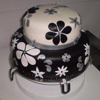 Black And White Wedding Cake Cake is Devil's Food Cake with Cooked Chocolate Fudge Icing, Fondant, all from scratch. For a 1/1/11 bride, who got married today (...