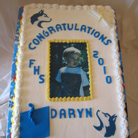 Daryn 12 x 18 chocolate sour cream, edible image, fondant accents
