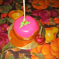 Candy Apple This is a spice cake with caramel frosting filling. It was too sweet to cover the whole cake so I use a light coat of bc and then covered...