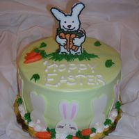 "Easter Bunny Cake Iced in BC, white ""chocolate flow"" bunnies, chocolate clay carrots"