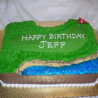 "Golf Cake BC ""grass"", graham cracker ""sand trap"" and ""cliff""- all I missed was a ball in the water!"