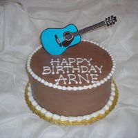 Arne's Guitar Cake   chocolate flow guitar, chocolate BC icing