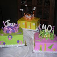 "Jen's 40Th Birthday   BC icing, fondant accents/ bows, white chocolate ""Jen"" and ""40"""
