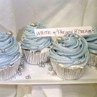 Blue With Silver Dragees white cake with blue french butter cream icing