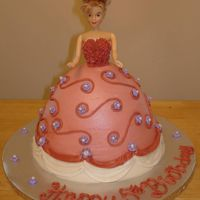 Pink Doll Cake stand up cake iced in buttercream.
