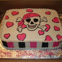 Pink Pirate Birthday sheet cake for a girly pink pirate party.