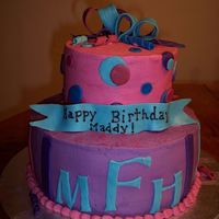 Maddy Birthday Cake Buttercream W/ MMF accents. This little girl I made the cake for was turning 8. She had a Hannah Montana party and mom wanted cake in color...