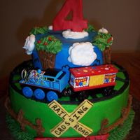 Thomas The Train Birthday All buttercream W/MMF accents. Real train bought @ Michael's. 6&10 inch layers. This was made for my little boy!! He loved it!
