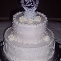 25Th Wedding Anniversary Cake All buttercream W/royal icing roses