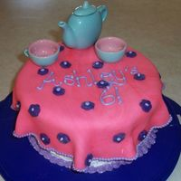Tea Party Cake frosted w/ buttercream and fondant tablecloth. The tea party set is my daughters.