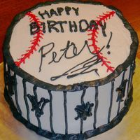 Ny Yankees Birthday Birthday cake for a NY Yankees fan. Pinstriping to look like the uniforms. Name to look like an autograph on a baseball. All buttercream.