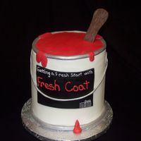 "Paint Can Made from 6"" rounds and covered in buttercream with fondant accents and chocolate paint stick"