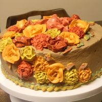 Fall Birthday Cake I made this cake as a donation for a silent auction -- the winner wanted a fall-themed birthday cake for her sister. White cake, pumpkin-...
