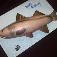 Snook Carved cake covered in fondant and airbrushed with silver