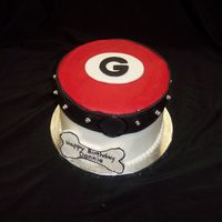 Georgia Bulldog A cake done for a GA BD fan. Iced in buttercream with fondant and silver dregaes