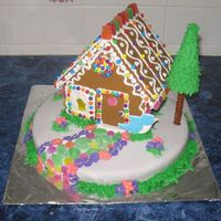 "Gingerbread Cake This cake was for a friend's daughters birthday. She was having a ""Hansel and Gretal"" themed birthday party and wanted the..."