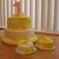 Twins First Cake I made this for my twin niece's first birthday. It's french vanilla with raspberry cream cheese filling. The flowers are all...
