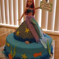 Ariel Mermaid Cake   This was my first cake for commission. I made it for a 3 yr. olds birthday. It's buttercream with MMF accents.