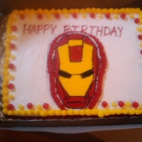 Iron Man Birthday Cake I did this for my nephew's 7th birthday. It's only my 2nd attempt of frozen buttercream icing transfer. TFL