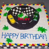 Riley's Birthday Inspiration from several other race track cakes on this site.