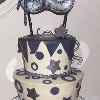 Mask Cake THIS CAKE WAS MADE FOR MY DAUGHTERS HALLOWEEN COSTUME PARTY. THE MASK IS FONDANT WITH SILVER LUSTER DUST AND FONDANT CURLS (BY THE WAY I...