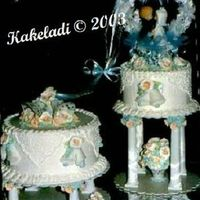 Peach and blue wedding