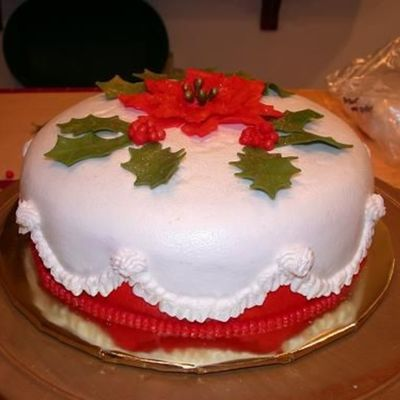 Holly And Poinsettia Christmas Cake on Cake Central