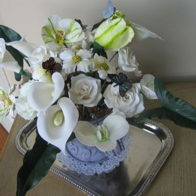 Flower Pot ,urn :orchids,roses,dogwood,lillies,green Leaves,edible