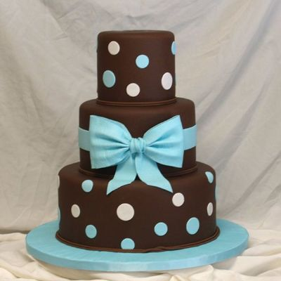Blue Bow And Choc Fondant on Cake Central
