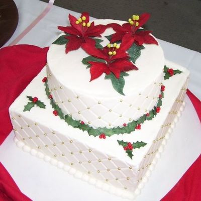 Christmas Cake With Poinsettias on Cake Central