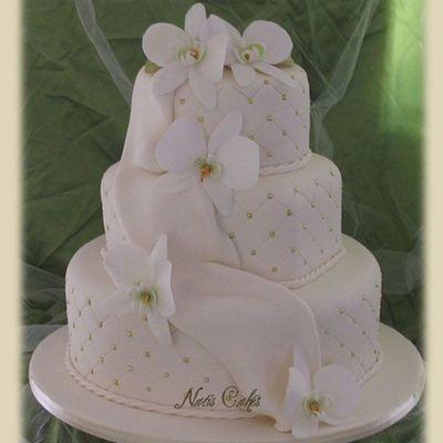 Orchid Drape Wedding Cake on Cake Central