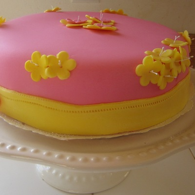 Pink Cake With Yellow Flowers