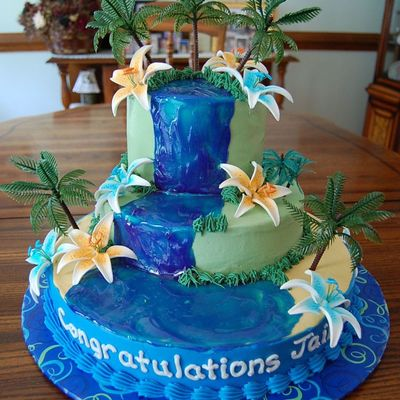 Tropical Luau Theme Graduation Cake