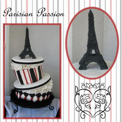 Whimsical Hat Box With Eiffel Tower on Cake Central
