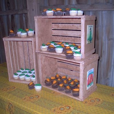 Fondant Vegetable Crates With Vegetable Topped Cupcakes