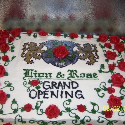 Grand Opening Lion And Rose Cake