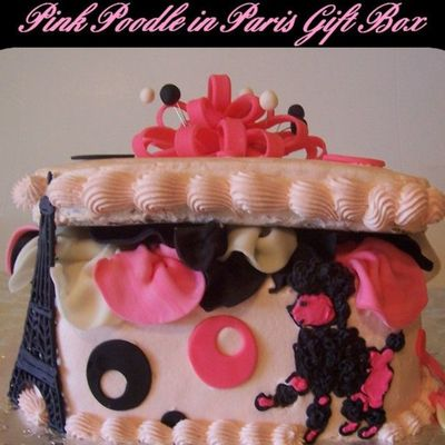 Pink Poodle In Paris Gift Box on Cake Central