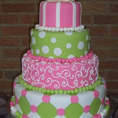 Pink And Green Show Cake on Cake Central