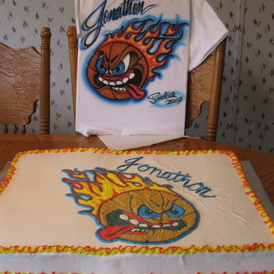Flamed Basketball Cake